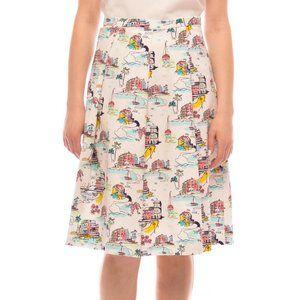 DE Collection XL MCoastal White Print Midi Skirt